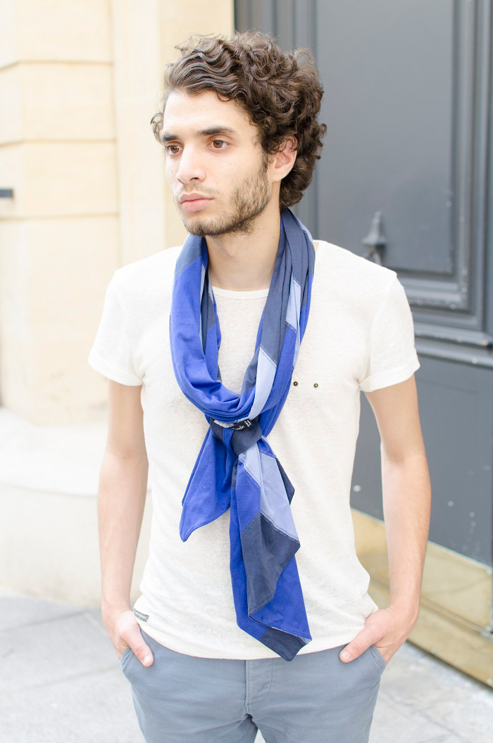 foulard sébastien blondin noué cravate look