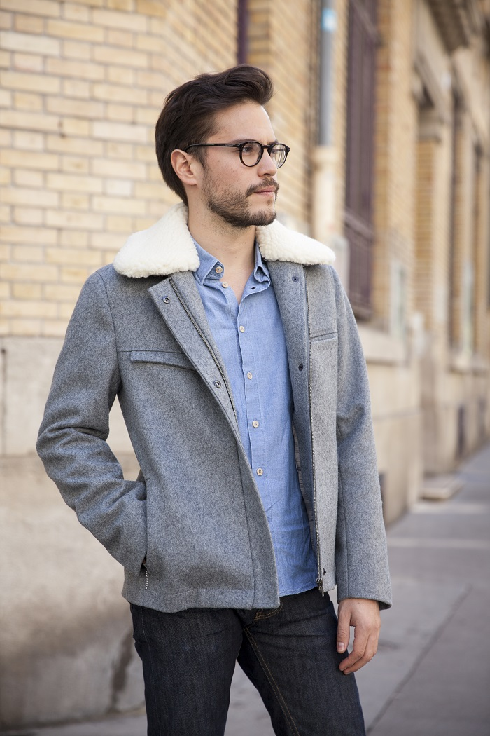 look veste col laine homme