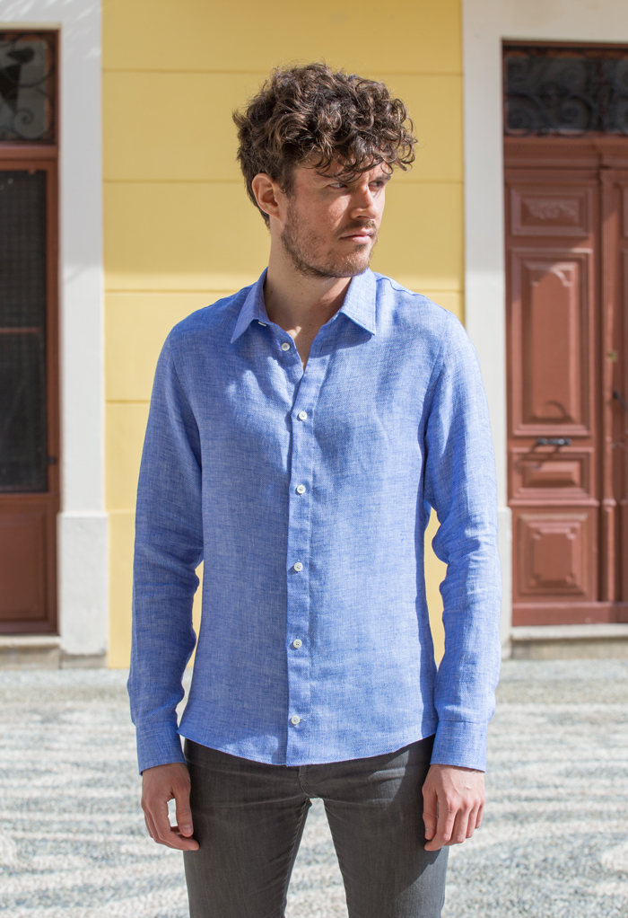 coupe chemise lin micro motif