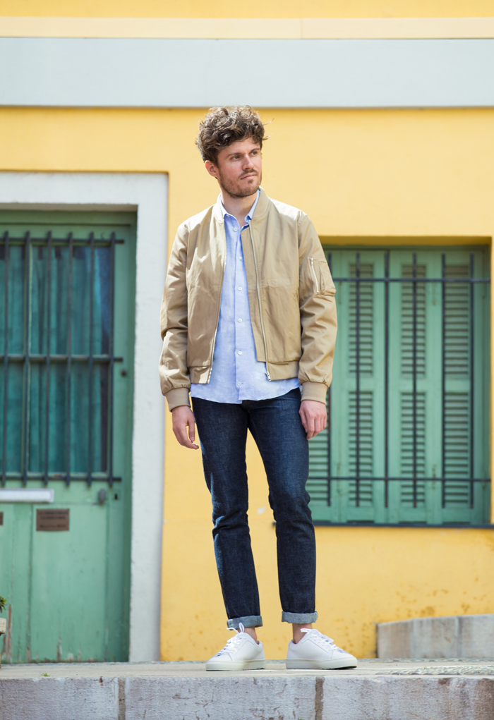 inspiration bomber beige sneakers homme