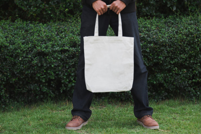 Tote bag homme toile blanc