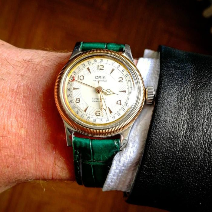 Montre Oris Big Crown Pointer Date in the sun bracelet cuir vert