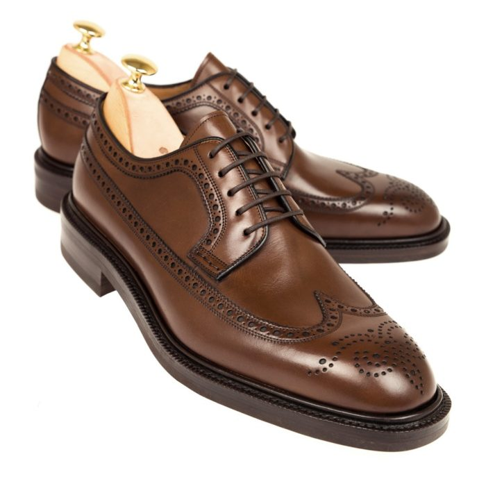 derby marron cuir perforation brogue