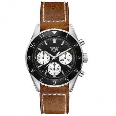 Montre chrono bracelet cuir marron