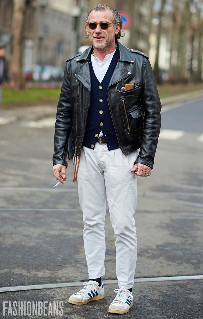homme rue lunette perfecto cuir jean blanc