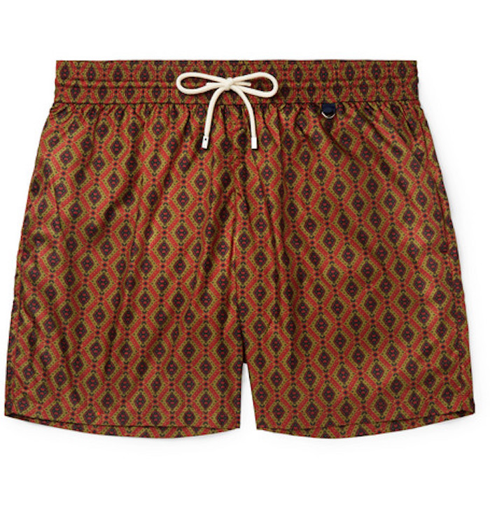 short bain marron orange imprimé madder