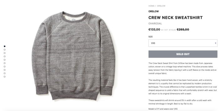 sweat gris moyen orslow