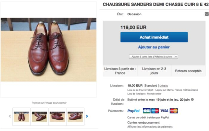 ebay chaussure derby chasse bordeaux sanders