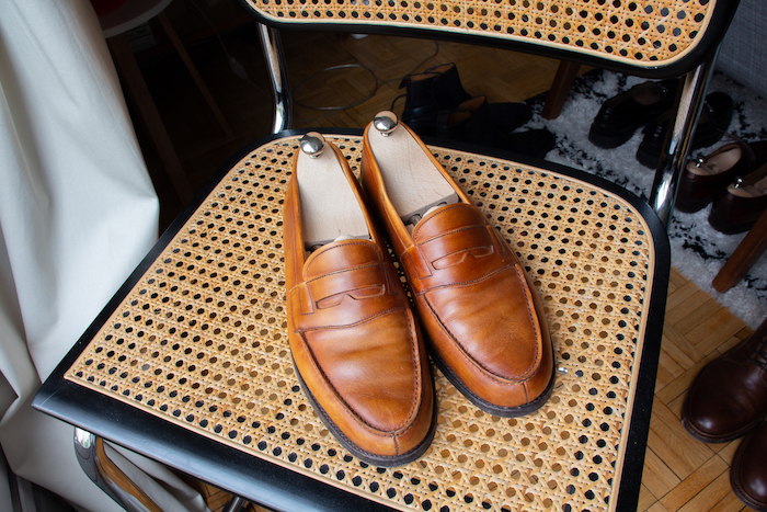 Mocassins en cuir lisse cognac orange