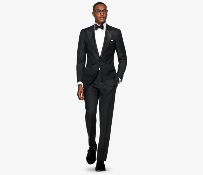 smoking noir suitsupply noeud papillon loafer chemise blanche